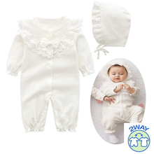 Newborn Gril Cotton Lace Romper With Bernat Set Baby Girls Overall White Pink Sleepping Bag Infant Clothes Born 3m 6m 9m 1t Gift