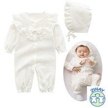 新生児グリル綿レースロンパースとベルナットセット女の赤ちゃん全体白ピンクsleeppingバッグ幼児服新生児3メートル6メートル9メートル1t