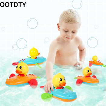 Summer New Baby Bath Toy Rowing Boat Duck Swim Bath Floating Water Wind-up Chain Baby Children Classic Toys Gifts 2019 new classic baby bath floating rubber duck toy cute unicorn frog sailor bath toy birthday party dress toy