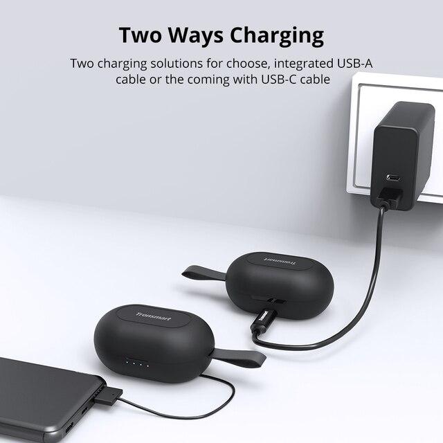 [Più nuovo] Tronsmart Spunky Battere Bluetooth TWS Auricolare APTX Auricolari Senza Fili con QualcommChip, CVC 8.0, touch Control 4