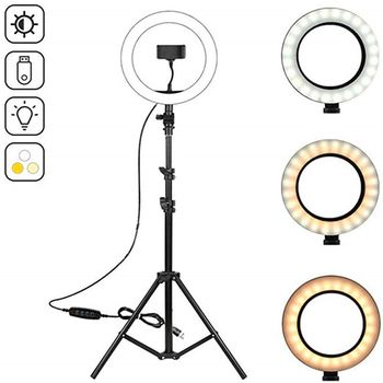 10 2 #8222 lampa pierścieniowa led fotograficzny Selfie lampa pierścieniowa ing z 50 70 160 210cm stojak trójnóg dla Youtube Live Video Studio Tik Tok tanie i dobre opinie T ACYML 3300-5600 k black Eco-friendly soft rubber ABS aluminum alloy 26cm 460g 120pcs LED cold light enhanced light Cold and warm light 3200-5600K