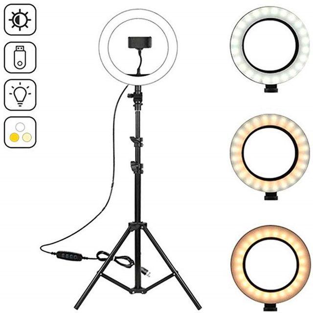 """10.2 """"lampa pierścieniowa LED fotograficzne oświetlenie pierścienia Selfie z 50 70 160 125cm stojak trójnóg do Youtube Live Video Studio Tik Tok"""