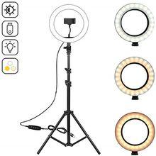 Anillo de luz LED de 10,2 pulgadas para fotografía, iluminación para Selfie con trípode de 50, 70, 160 y 125cm, soporte para Youtube, vídeo en vivo, estudio Tik Tok