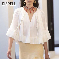 SISPELL White Chiffon Ruched Women's Blouse V Neck Batwing Sleeve Drawstring Lace Up Elegant Female Shirt Autumn Fashion Clothes