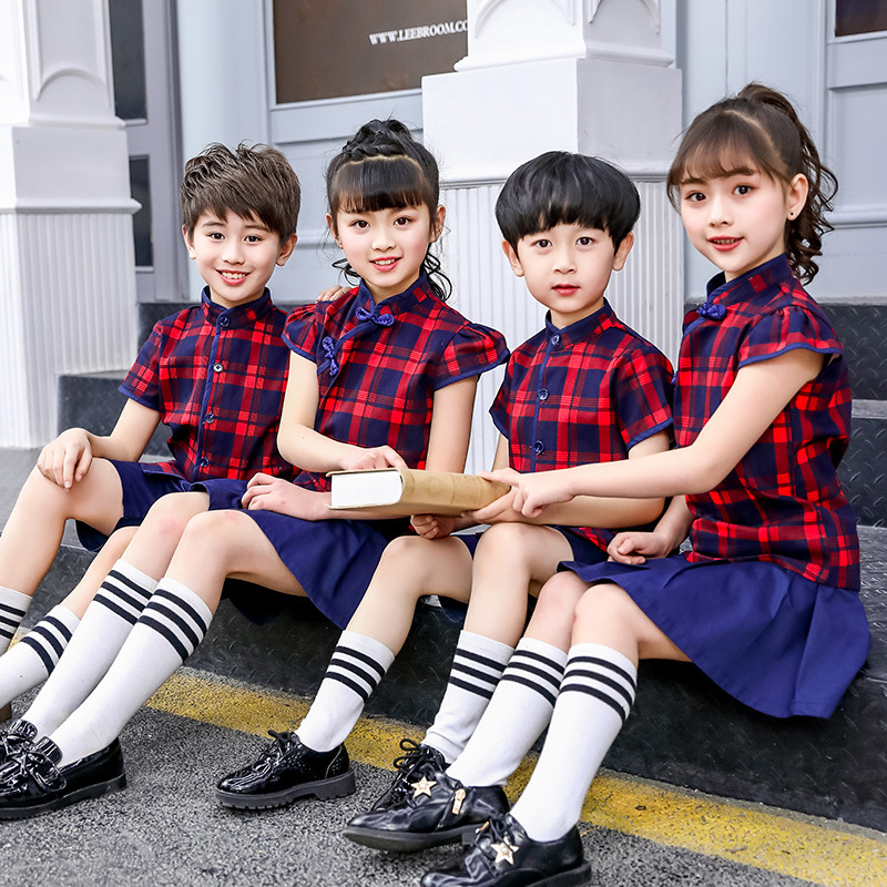 Kindergarten Suit Summer Wear Young STUDENT'S School Uniform Ethnic-Style Children Business Attire Performance Wear Cheongsam Ch