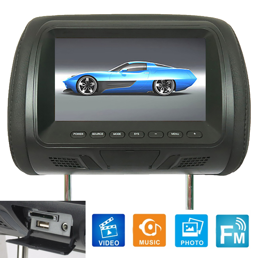 Universal 7 Inch Car Headrest Monitor Rear Seat Entertainment Multimedia MP3/MP4/FM/Video/Muisc/TF Card Player New hot boutique 1