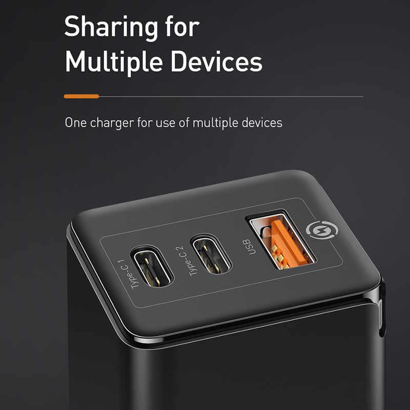 Baseus Mỹ Cắm Cán Bộ Sạc Nhanh 65W Quick Charge 4.0 3.0 USB C PD Sạc 3 Cổng USB Di Động sạc ForMacbook Pro ForiPhone