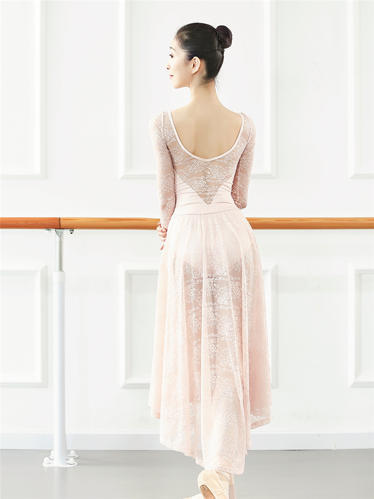 Lace Gymnastics Dress Adult Women's Dance Wear BodyTraining Ballet Practice Wear Ice Skating Tutu Lyrical Dance Costume