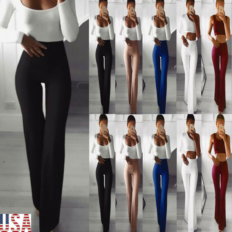 Baggy Pants Elegant Plus Size Sexy Women's Palazzo Flared Wide Leg Pant High Waist OL Bootcut Career Long Trousers Ropa Mujer