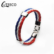 CUTEECO Anchor Bracelets National Flag Color Bracelet Jewelry Alloy Pu Leather Woven