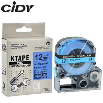 CIDY 20 ROLLS compatible SC12BW/LC4LBP LC-4LBP9 12MM black on blue strong adhesive label ribbon for KingJim machine LW300 LW400
