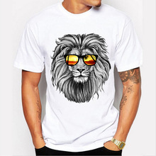 Men Tops 2019 Summer Crown Lion 3D White Mens T-shirt Fashion Animal Print T-Shirt Casual Short-Sleeve Tee Shirt Homme 4XL