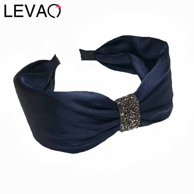 LEVAO Vintage Wide Side Knotted Bezel Rhinestone Headband Elegant Female Hair Hoop Turban Girls Women Hairband Hair Accessories