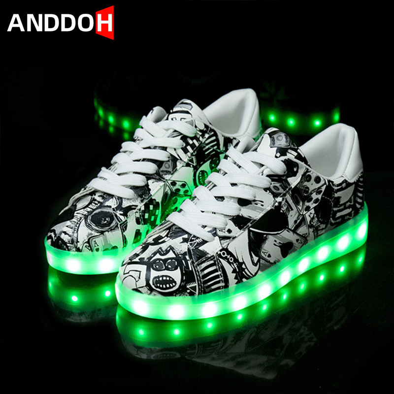 Size 27-41 LED Shoes USB Children Glowing Sneakers With Light Shoes Luminous Sneakers For Boys Girls Kid Krasovki With Backlight