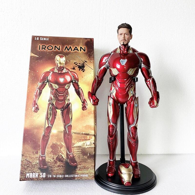 Crazy Toys Action Figure MK50 Tony Stark Iron Man Mark50 Iron Man Action Figures Toy Gift For Christmas Doll 12inch Two Head