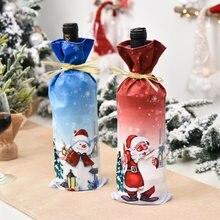 Cubierta antipolvo para botella de vino, adornos navideños para el hogar, decoración de mesa para cena, Papá Noel, Elk, muñeco de nieve, Año Nuevo 2021, 2020