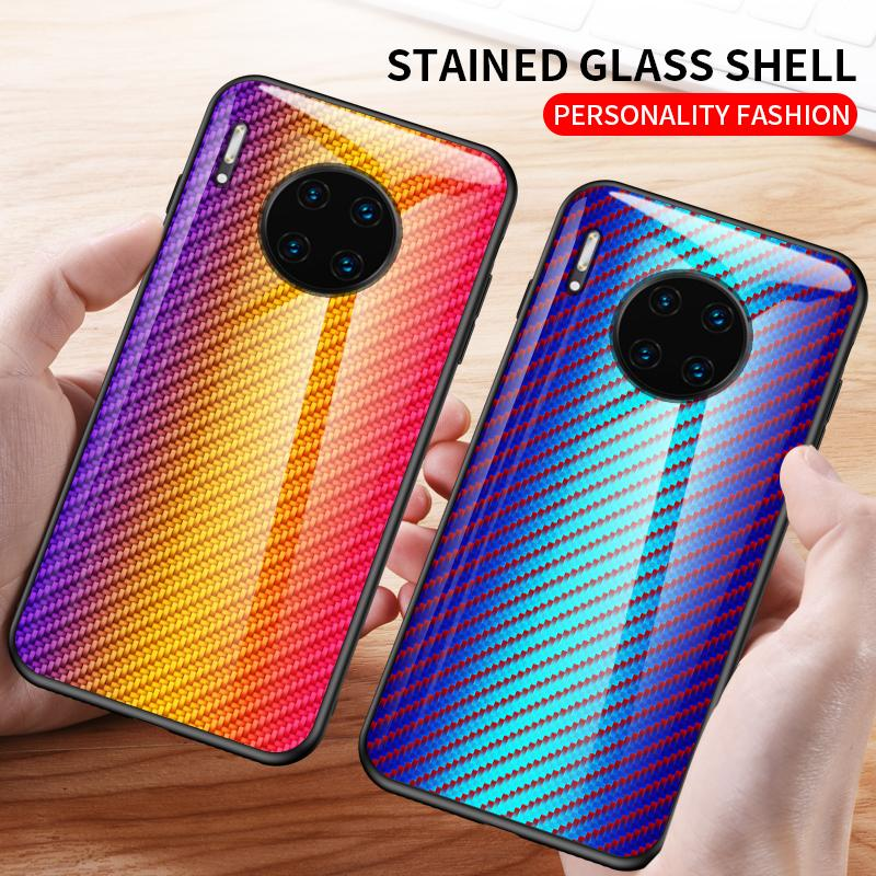 Carbon Fiber Gradient Tempered Glass Case For Huawei Mate30 P30 P Smart Z Nova5 Cover Hard Back Cases For Honor 8C 8X 9X 20 Pro