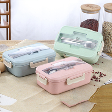 Straw Wheat Student Heated Lunch Box Picnic Food Container Sealed With Spoons Chopsticks 3 Split Layers Food Lunch Box