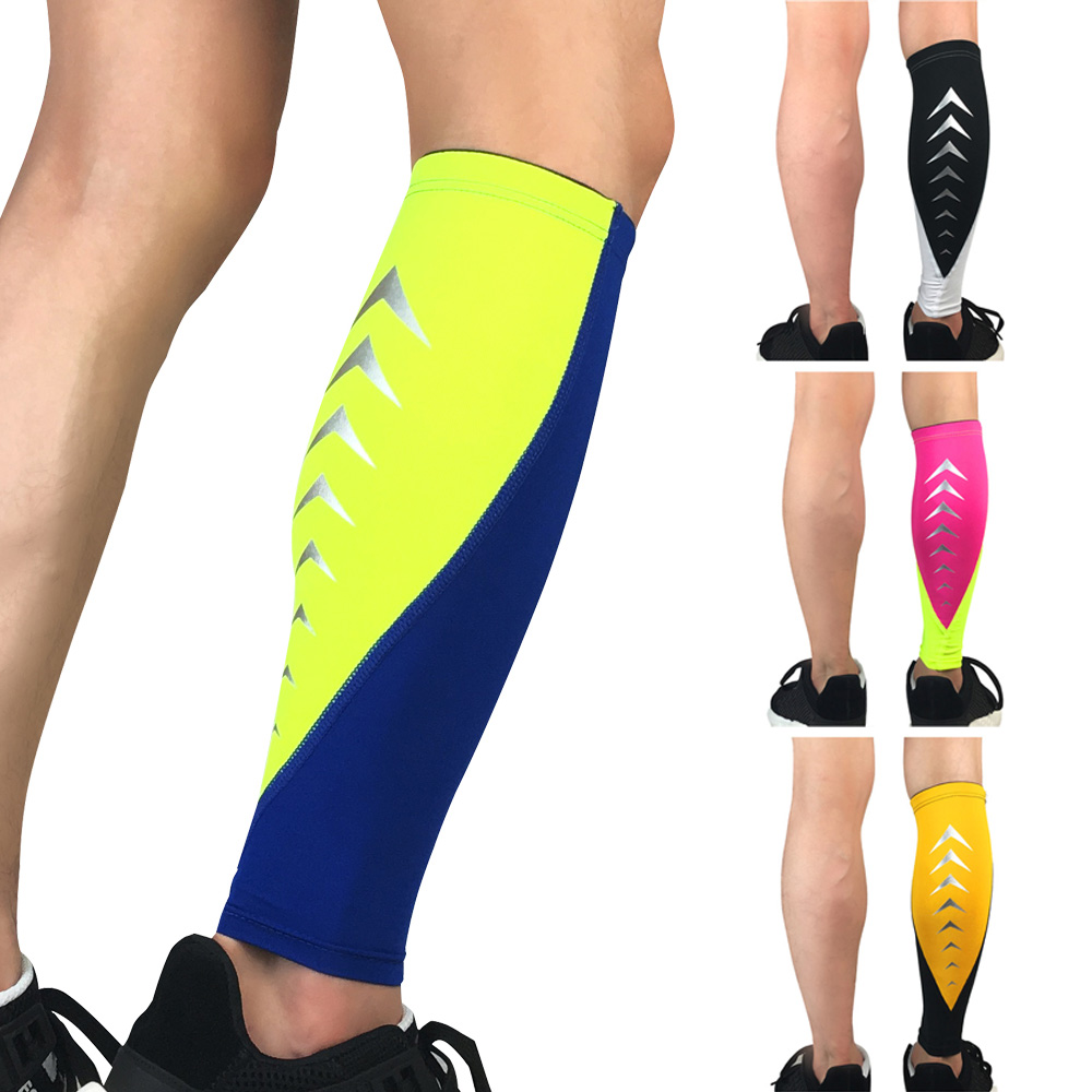 Sports Leg Sleeve Sock Calf Protection Fitness Exercise Reflective Strip Design