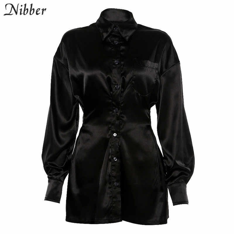 Nibber office lady Slim Soft chiffone lange mouw jurken vrouwen 2019fall Winter fashion casual Elegant black mini jurken mujer