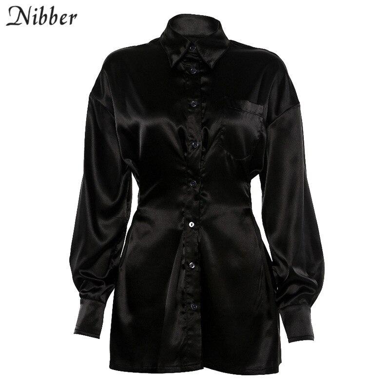 Nibber office lady Slim Soft chiffone long sleeve dresses womens 2019fall Winter fashion casual Elegant black mini dresses mujer