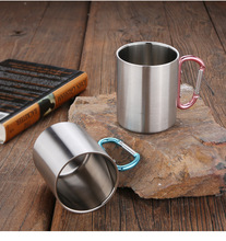 Outdoor water glass travel 304 stainless steel Folding handle portable coffee mug 360ml