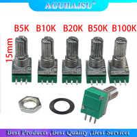 Potenciómetro de audio único enlazado, 10 Uds., 3pin, RK097N, B5K, B10K, B20K, B50K, 15mm, 5K, 10K, 20K, 50K, 100K