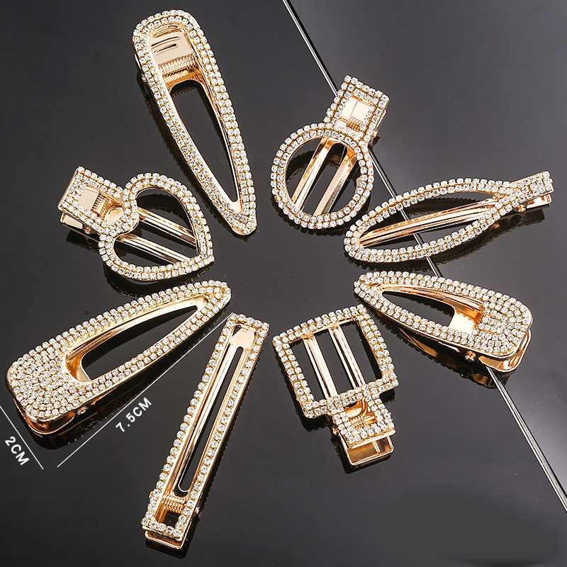 1pc/lot Crystal Rhinestones Metal Hair Clips With Words Hairpins For Hair Women Hair Clamps Women Accesories