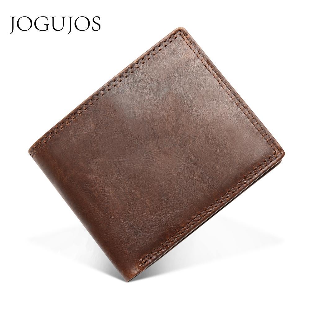 JOGUJOS Genuine Crazy Horse Leather Men Wallets Vintage Short Wallet Cowhide Coin Purse Money Credit Card Holder Purse For Man