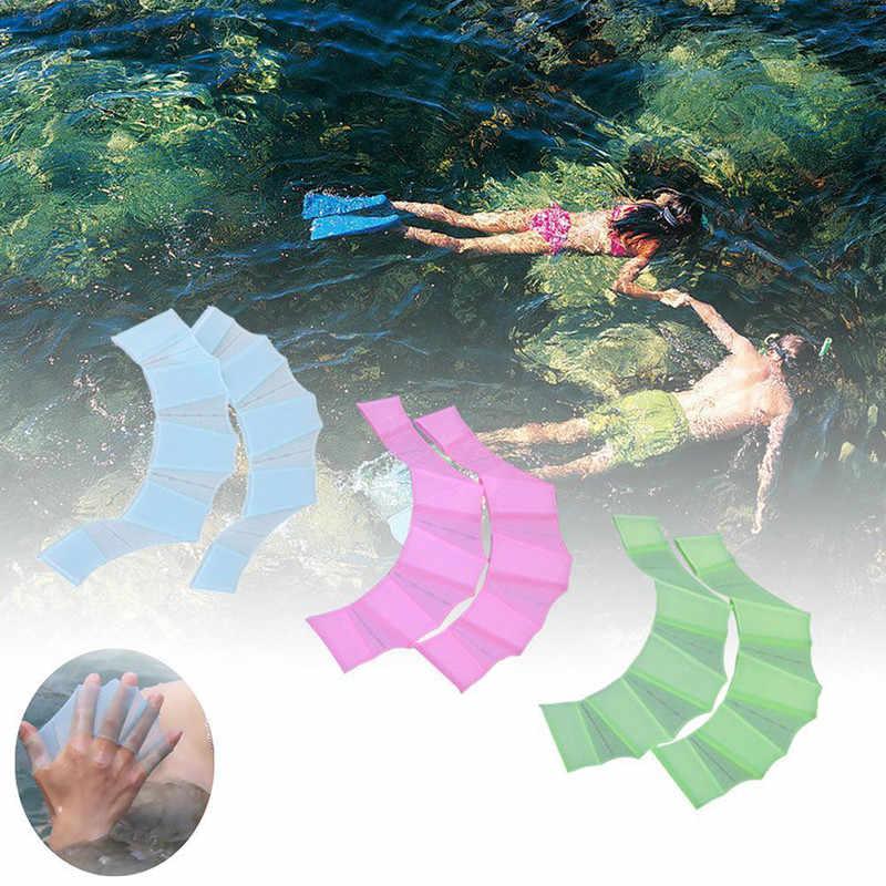 Aletas de natación Unisex, 1 par, natación manual, hombres, mujeres, niños, entrenamiento profesional de silicona, natación, medio dedo, aletas de mano