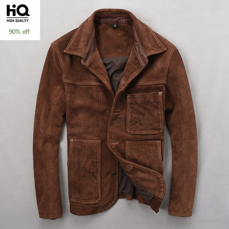 New Fashion Turn Down Collar Men Suede Cow Genuine Leather Jacket Vintage Slim Fit Coat Long Sleeve Single Breasted Outwear