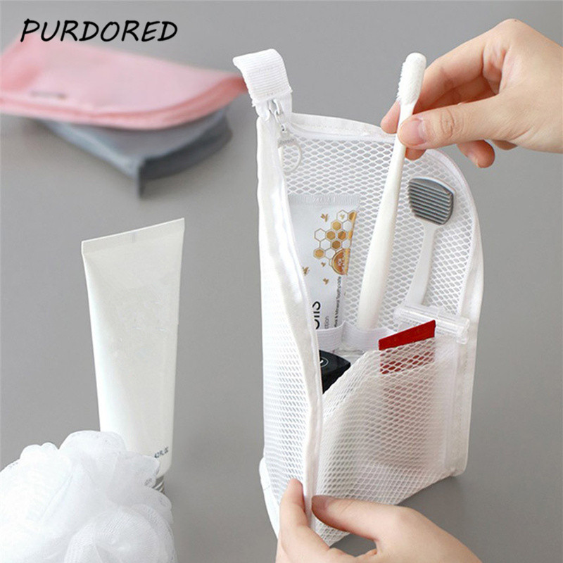 PURDORED 1 Pc Folding Zipper Travel Makeup Brush Bag Portable Mesh Cosmetic Bag Travel Makeup Bag Toothbrush Washing Organizer