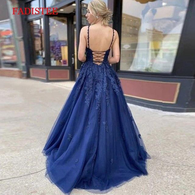 Lace navy blue V-neck vestidos de fiesta de noche prom party Evening Dresses robe de soiree gown frock long soft tulle lace-up 4