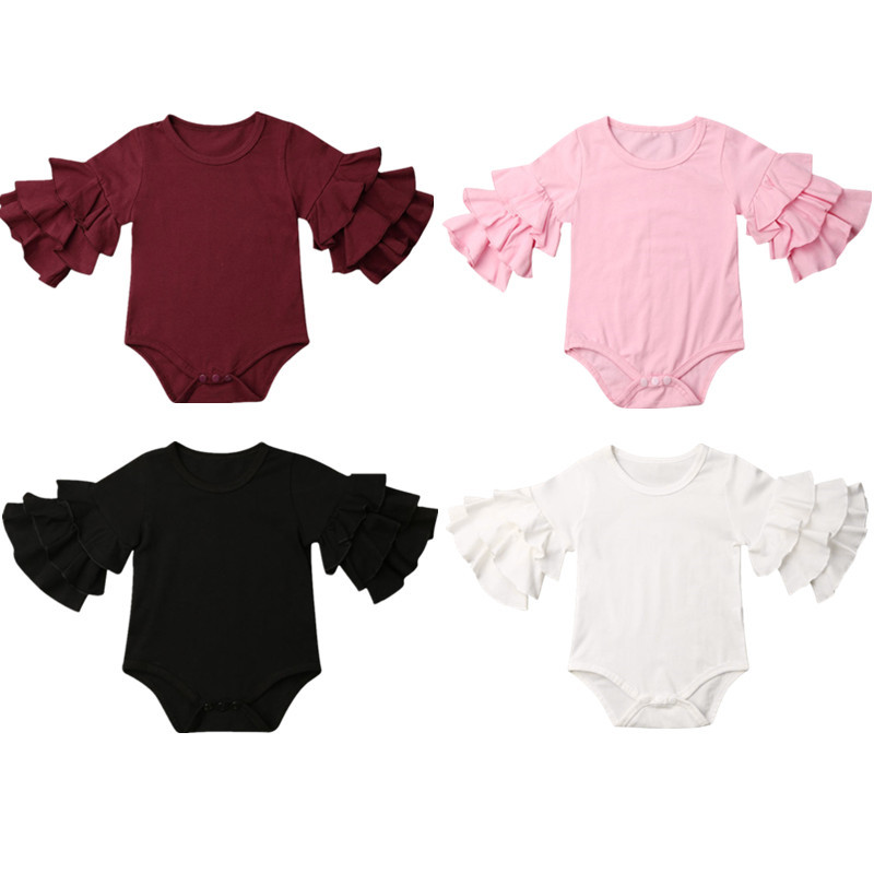 Pudcoco US Stock 0-18M Newborn Baby Girl Clothes Layers Ruffle Long Sleeve Bodysuit Cotton Solid Outfit 0-18M