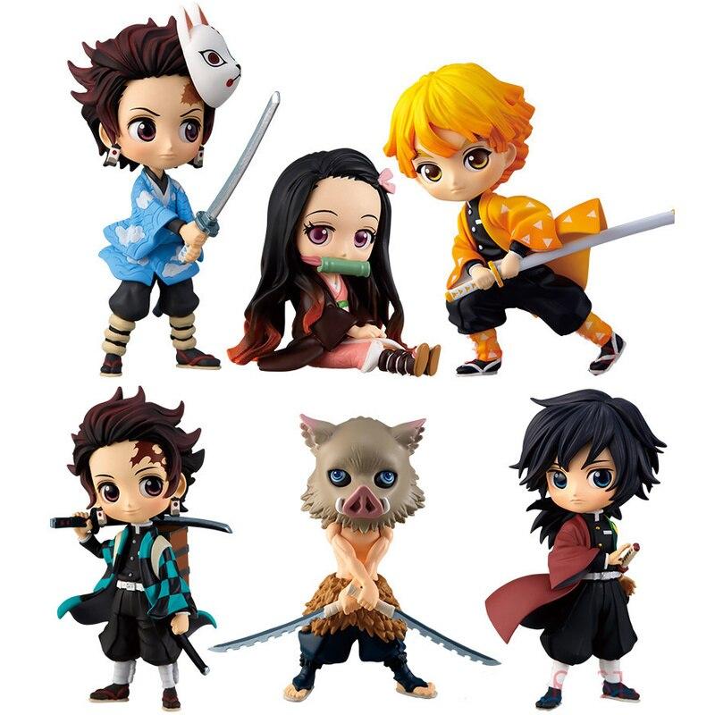 5-8cm Devil's Blade Anime Demon Slayer Kamado Tanjirou Nezuko Zenitsu Pvc Action Figure Ninja Warrior Model Figuals Toys Gift
