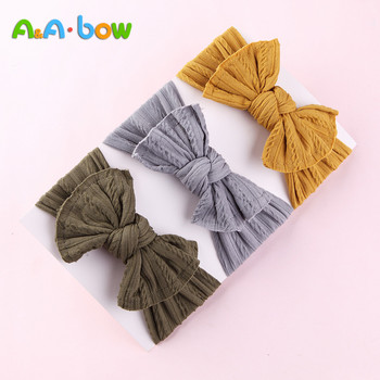 1PCS New Braid Nylon Bow Headbands,Cable Knit Solid Wide Headbands Turban, Baby Girls Head Wrap Hair Accessories 27 colors - discount item  30% OFF Kids Accessories