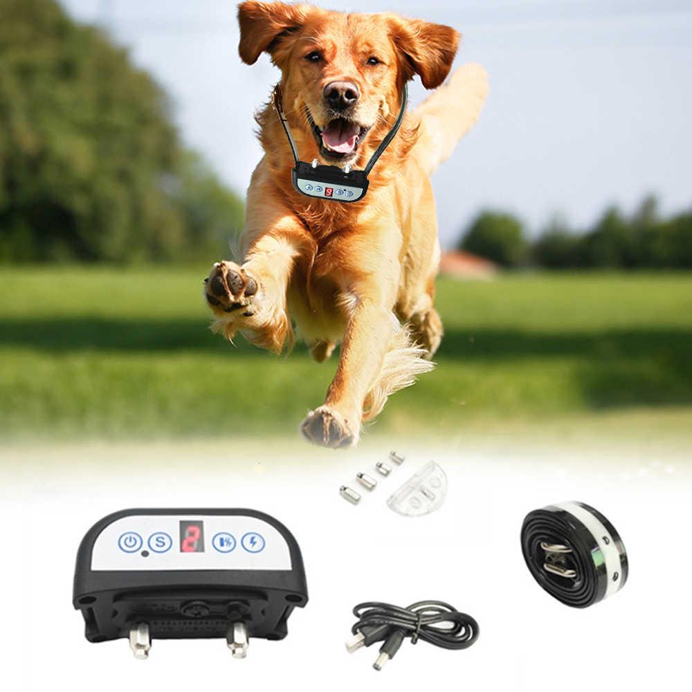 Elektryczna obroża do szkolenia psa wodoodporna akumulatorowa obroża antyszczekowa 7 czułość zdalna wstrząsowa obroża zapobiegająca szczekaniu dla psa