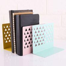 Shelf Desktop-Organizer Bookends Metal Support-Stand-Holder Office-Supplies Home Hollow