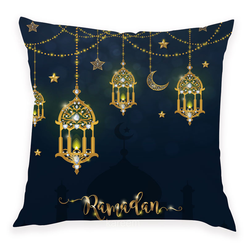 45x45cm Happy Eid Mubarak Pillowcase Ramadan Decor Islamic   Muslim Moon Party Decor Islam Supplies Ramadan Kareem Eid Al Adha