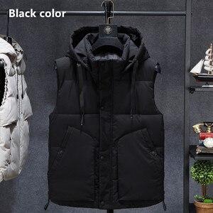 Image 3 - Inverno sem mangas jaqueta 2019 quente preto camuflagem chapéu com capuz casaco casual com capuz plus size 6xl 7xl 8xl estudantes magros blusão