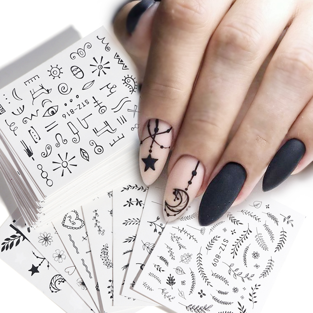 68pcs Water Transfer Nail Art Sticker Set Black Lace Flower Leaf Decal Slider Wraps Tips Decor DIY Manicure New SASTZ808-855