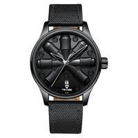 TEVISE Tourbillion Fashion Sport Men Automatic Mechanical Watch Unique Creative Watches Leather Band Waterproof Calendar Clock