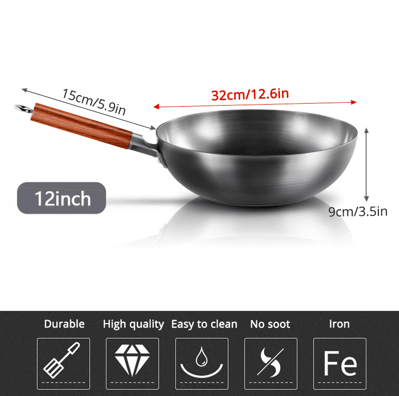Traditional Handmade High Quality Chinese Non-Stick Iron Wok Pan 4