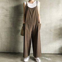 Harajuku Khaki Overalls Women Casual Loose Cotton Sleeveless Long Romper Wide Legs Jumpsuit Summer Female Black Sportswear