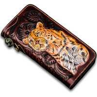 Unisex handmade leather wallet first layer cowhide long zipper leather carving leopard vertical section carved money cloth clutc