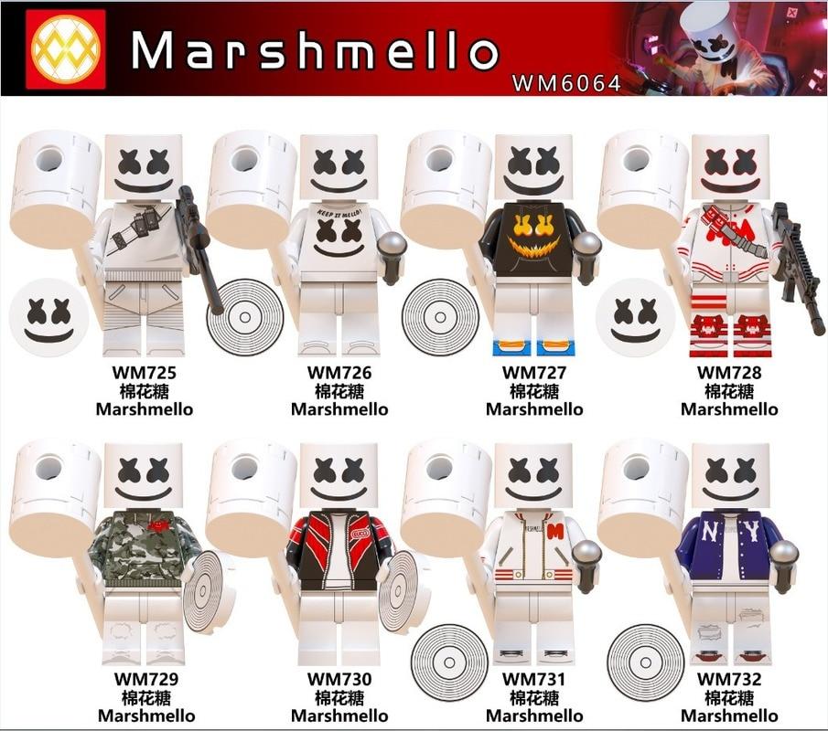 8pcs/set WM6064 Celebrity Series Marshmallow Band Children's Puzzle Assembled Building Blocks Toy Toy Gift