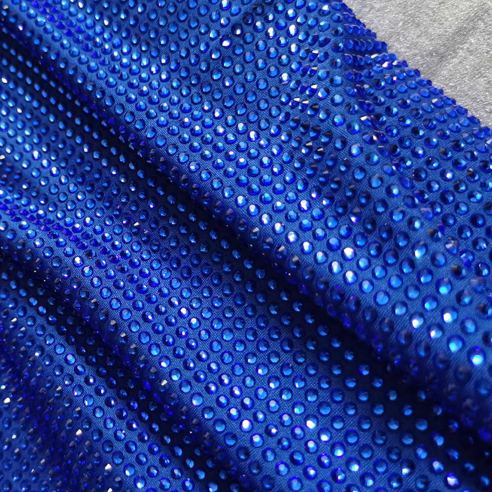 Meters High Quality Hot Fix Crystal Sapphire Blue Rhinestone Strass Iron Dance Fabric Spandex Stretch Elastic