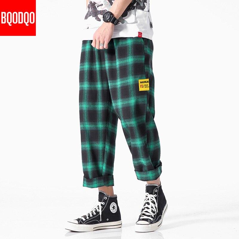 2019 Joggers Pants Men Plaid Pant BLACK Cotton Comfortable Mens Summer Casual Streetwear Loose Trouser Pocket Japanese Trendy