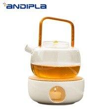 Современный простой белый керамический чайник нагревательная база свеча вареный чай нагреватель кофе молоко грелка плита чай церемония Аксессуары подарок