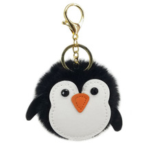 Personality Cute Penguin Imitation Rex Rabbit Fur Ball Key Chains Bag Car Pendant Key Chains Cartoon Animal Key Ring 2020 2019 new hot fashion cute lovely rabbit feautiful popular simple personalidad casual key chains 6096